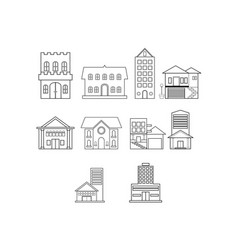Thin line real estate icon set vector