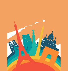 Travel france world landmark landscape vector