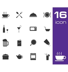 Black food icon set on white background vector
