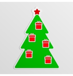 Green fir with hanging red gifts vector