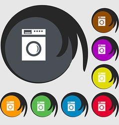 Washing machine icon sign symbols on eight colored vector