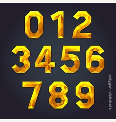 Alphabet number gold color polygon style vector image