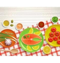 Flat lay cooking tablecloth wood background vector