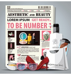 Aesthetic and beauty newspaper lay out with vector