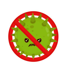 angry bacterium in prohibition sign evil vector image vector image
