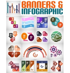Big set of infographic banners and backgrounds vector image