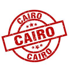 Cairo red round grunge stamp vector