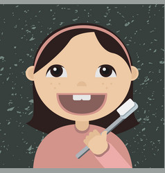 cartoon girl brushing teeth vector image