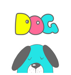 cute dog symbol of new year 2018 hand drawn vector image