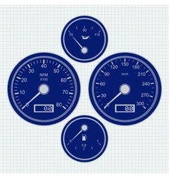 Dashboard speedometer and tachometer icon vector