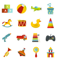 Different kids toys icons set in flat style vector