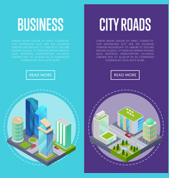 Downtown business district banners set vector