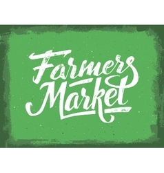Farmers market hand lettering vintage poster vector