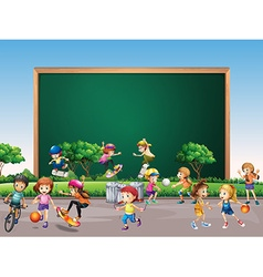 Frame design with many children play in park vector image vector image