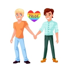 Gay couple holding hands vector