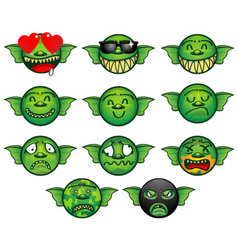 Gremlin emoticon set vector