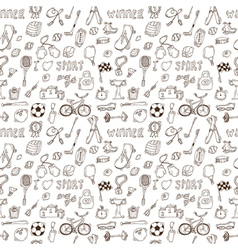 Hand drawn sport seamless pattern Healthy vector image