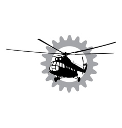 Helicopter of silhouette vector