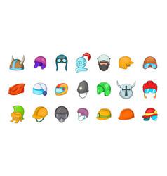 helmet icon set cartoon style vector image