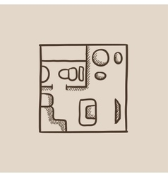 House interior with furniture sketch icon vector image