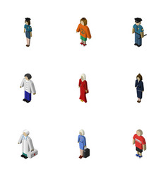 Isometric people set of businesswoman officer vector