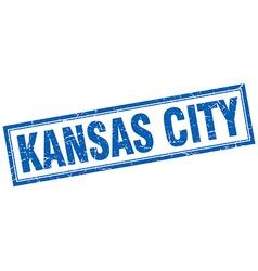 Kansas city blue square grunge stamp on white vector