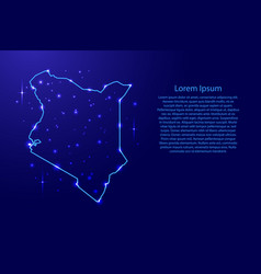 map kenya from the contours network blue luminous vector image