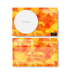 orange polygon banner business card vector image vector image