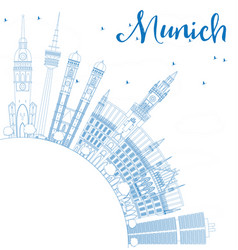 Outline munich skyline with blue buildings vector