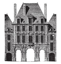 Paris royal palace faade officially the grand vector