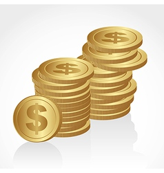 piles of golden coins isolated on white background vector image