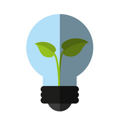 Plant inside lightbulb clean energy icon image vector