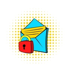 Protected e-mail icon pop-art style vector