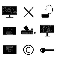 Remote work icons set black silhouette vector