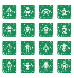 Robot icons set grunge vector