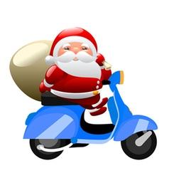 santa riding a scooter vector image vector image