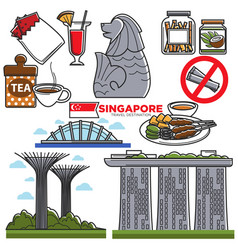 singapore travel tourist landmark symbols and vector image