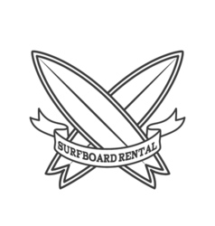 Surfboard rental logo design Surfing logotype vector image