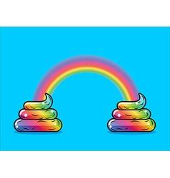 Turd unicorn and rainbow Appearance of rainbow vector image