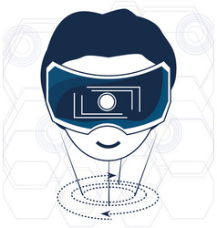 Virtual reality game with futuristic technology vector
