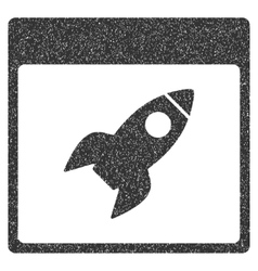 Rocket calendar page grainy texture icon vector