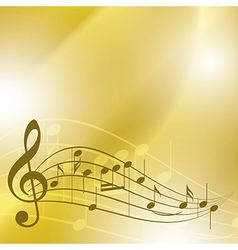 light yellow music background with notes vector image