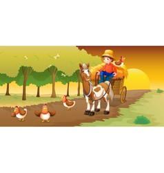 A man riding in his cart going to the farm vector image