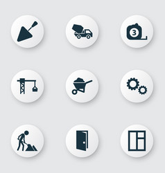 Industry icons set collection of entrance carry vector