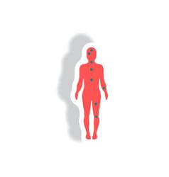 Stylish icon in paper sticker style ebola symptoms vector