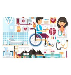 Set isolated design element medicine health vector