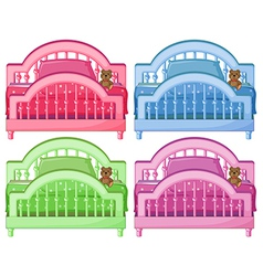 Four colorful beds vector