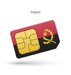 Angola mobile phone sim card with flag vector
