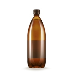 Blank brown plastic water beer kvass bottle vector
