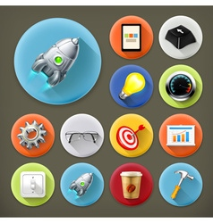 Start up long shadow icon set vector